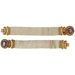 1800s Antique Victorian Gold Amethyst Cuff Bracelet Set