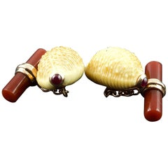 Natural Shell Gold Cufflinks in Carnelian and Rubies