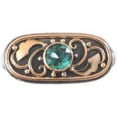 Unique 1920s 1930s Art Deco Tourmaline Rose Gold Silver Vermeil Cocktail Ring