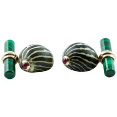 Natural Shell Gold Cufflinks with Ruby and Malachite