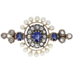 Antique Victorian Sapphire Pearl Diamond Gold Brooch