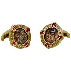 Antique Coins Citrines Enamel Silver Roman Cufflinks
