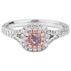 GIA Certified White Gold Fancy Pink Radiant Cut Diamond Ring
