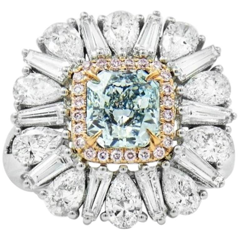GIA Certified White Gold Fancy Greenish Blue 1.52 ct Diamond & 2.74 ct Ring