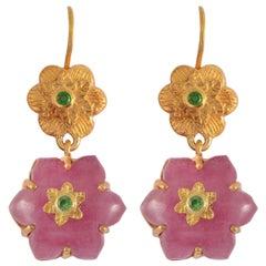 Emma Chapman Ruby Tsavorite Gold Plate Chandelier Earrings