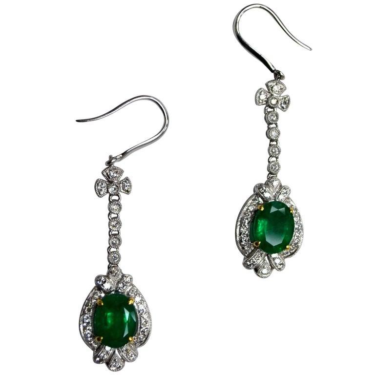 Emerald Diamond Art Deco 18 Karat Gold French Hook Drop Earrings