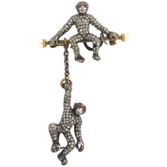 Large Movable Two Monkeys Diamond Ruby Pearl Gold Silver Pin