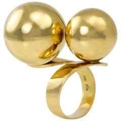 1970s Gold Ball Bypass Cocktail Ring, Remo Saracini