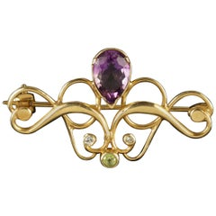 Antique Victorian 9ct Gold Amethyst Suffragette Brooch Circa 1900