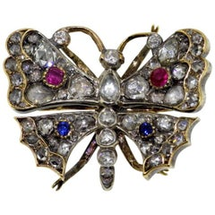 Victorian 15k gold and sterling silver butterfly brooch, c.1880's