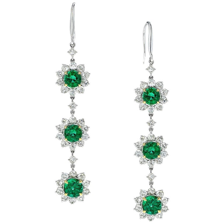 Emerald Diamond 18 Karat Gold Chandelier Earrings
