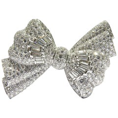 Spectacular  1950's   Diamond Platinum Bow Pin