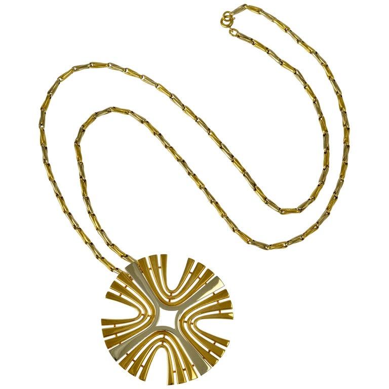 1970s Cartier Paris White and Yellow Gold Maltese Cross Pendant