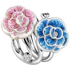 Pink Blue Roseline Micromosaic Ring