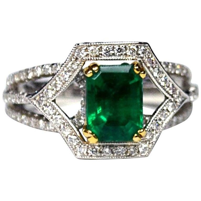 Emerald Diamond 18 Karat Gold Solitaire Ring