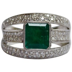 Emerald Diamond 18 Karat Gold Three-Row Wide Band Ring