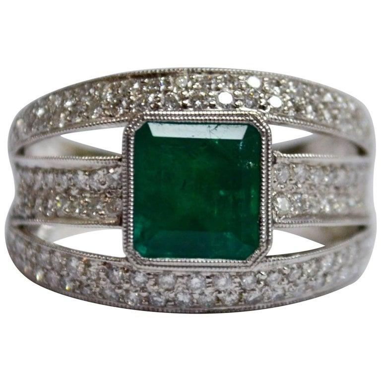 Emerald Diamond 18 Karat Gold Three-Row Wide Band Ring