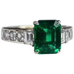 Emerald Cut Zambian Emerald Diamond 18 Karat Gold Engagement Ring