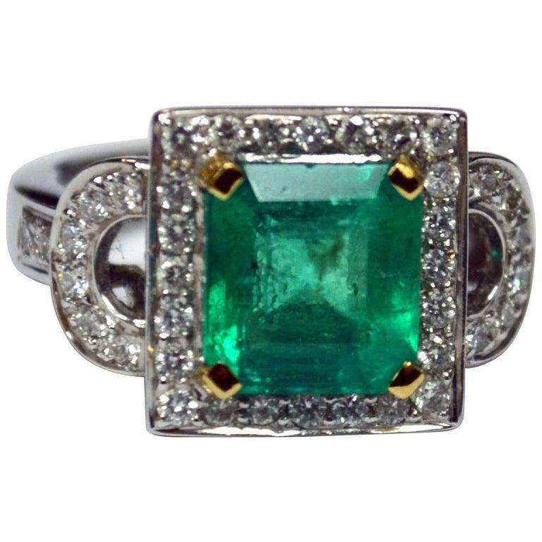 Asscher Cut Emerald Diamond 18 Karat Gold Ring