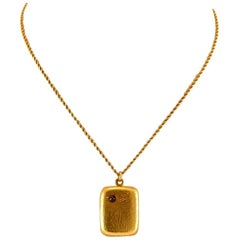 Russian 14K Gold Necklace With a Locket Pendant With Blue Sapphire. C1880