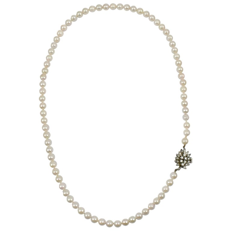 Daou Pearl Necklace, detailed White Gold Diamond Clasp in Leaf design, Handmade