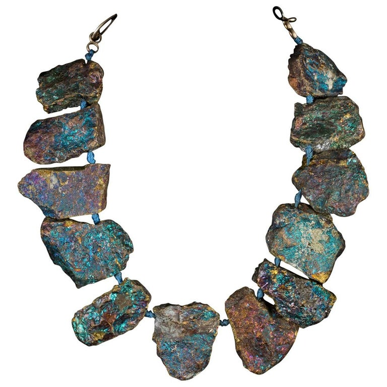 Chalcopyrite Necklace with 12 Beads For Sale