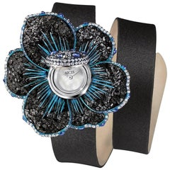 Stylish Wristwatch White Gold Whithe Diamonds Sapphires Satin Strap Micromosaic