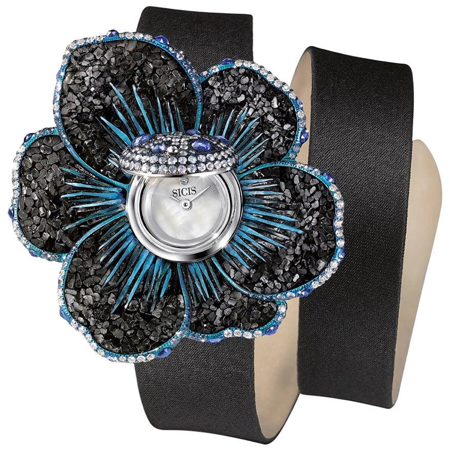 Stylish Wristwatch White Gold Whithe Diamonds Sapphires Satin Strap Micromosaic