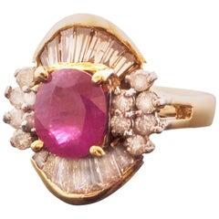 Retro Diamond-Accented Ruby Ring