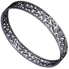 Sterling Silver Dark Platinum Textured Bangle Bracelet