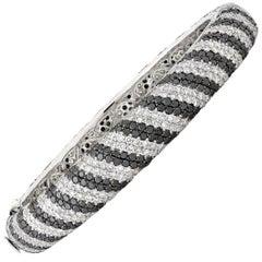 Black and White Diamond Bangle Bracelet, 19.88 Carats