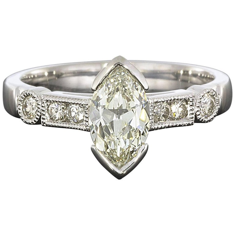 .96 Carat Marquise and Round Diamond Engagement Ring