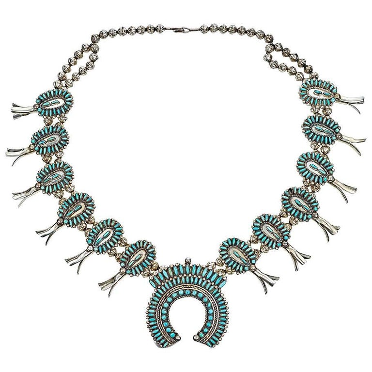 Small Vintage Turquoise and Silver Squash Blossom Necklace For Sale