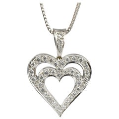 Diamond Heart Pendant Necklace, Handmade 18k White Gold, Daou, Contemporary