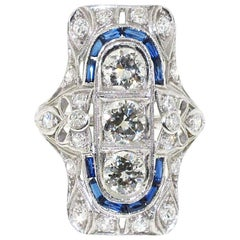 Platinum Diamond and Synthetic Sapphire Deco Style Ring