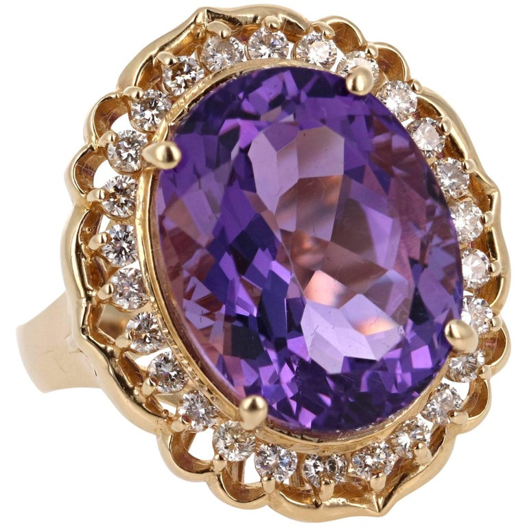 12.41 Carat Amethyst Diamond Yellow Gold Ring