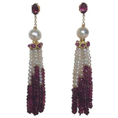 Graduated Pearl and Garnet Tassel Earrings with 14k Gold by Marina J