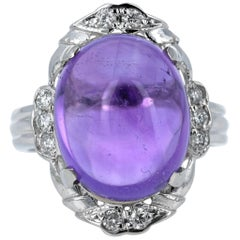 11.70 Carat Amethyst Diamond White Gold Ring