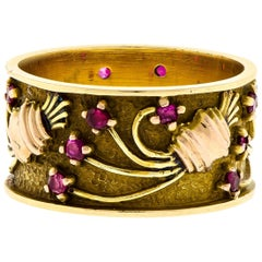 Wonderful Retro Tri-Color Gold and Ruby Wide Wedding Band