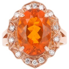 4.27 Carat Fire Opal Diamond 14K Rose Gold Ring