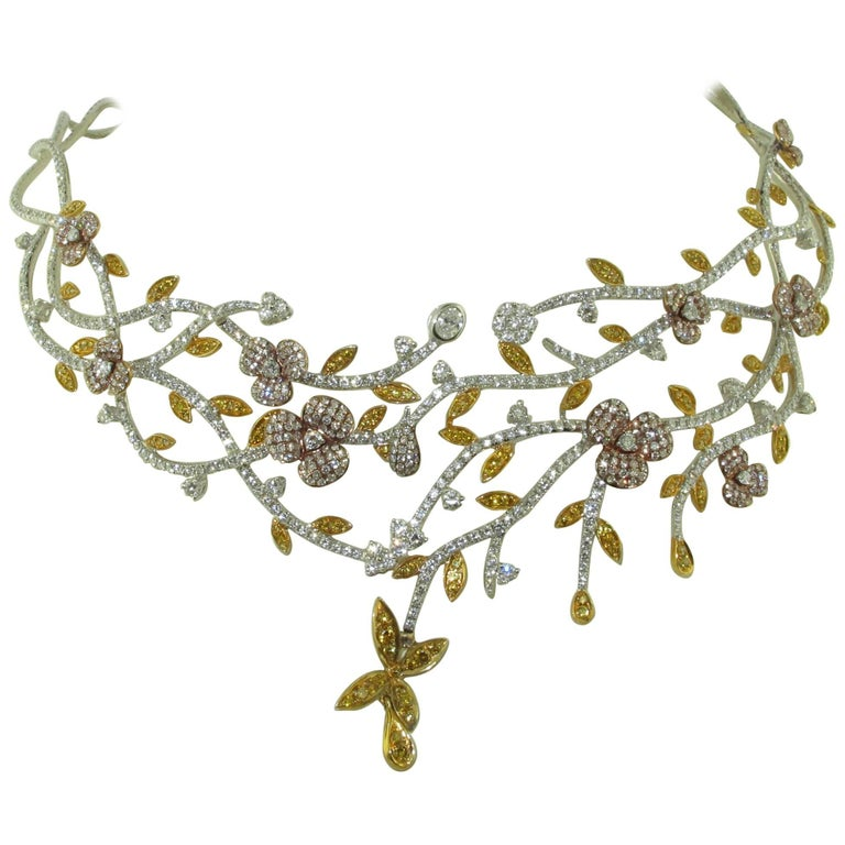 Floral  Natural Multi Color Diamond Necklace