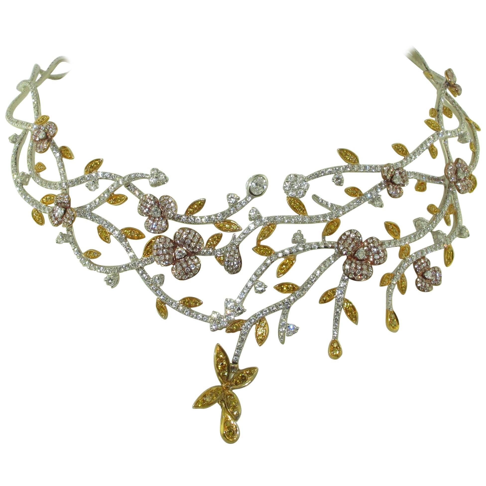 Floral  Natural Multi Color Diamond Necklace