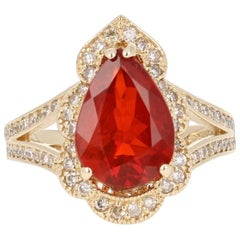 3.25 Carat Fire Opal Diamond 14K Yellow Gold Ring
