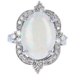 4.73 Carat Opal Diamond White Gold Ring