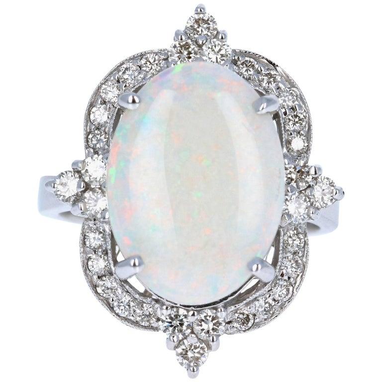 4.73 Carat Opal Diamond White Gold Ring