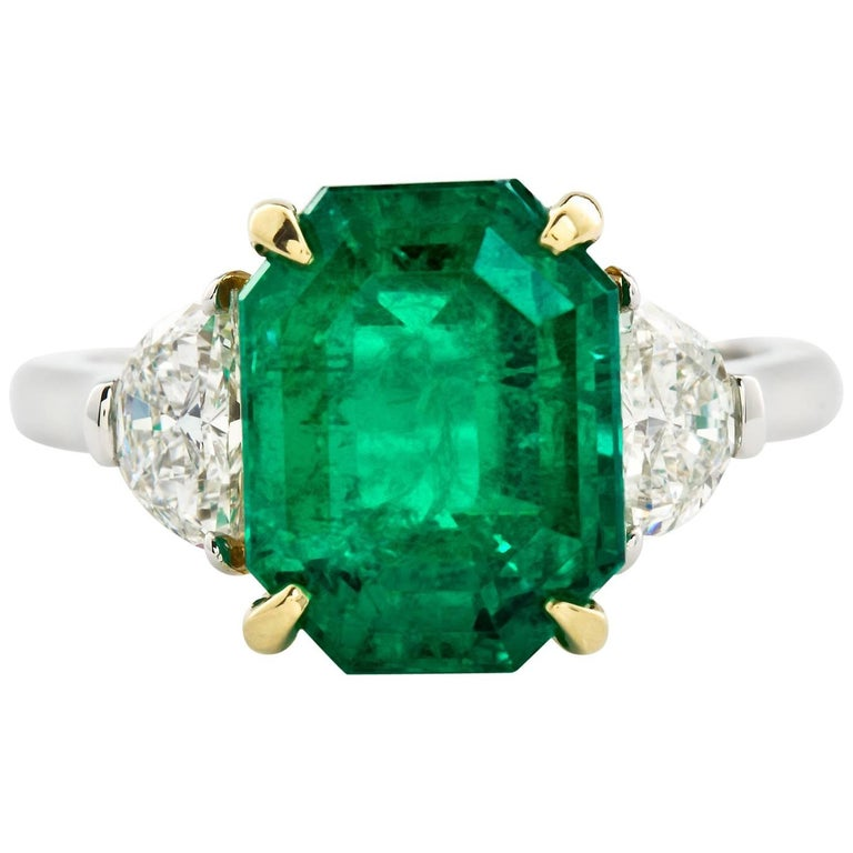 4.31 Carat Colombian Emerald Engagement Ring