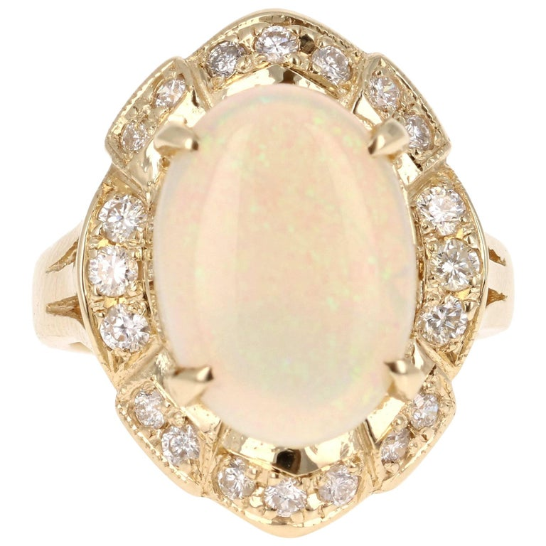 4.21 Carat Oval Cut Opal Diamond Yellow Gold Art Deco Ring For Sale