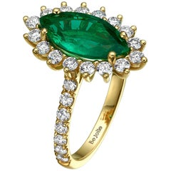 1.90 Carat Marquise Cut Natural Emerald and Diamond Engagement Ring