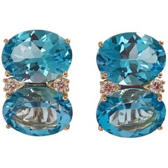 Grande Gum Drop Earrings with Two-Toned Blue Topaz and Diamonds
