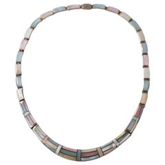 1950s Natural Pastel Shell Inlay Sterling Silver Necklace